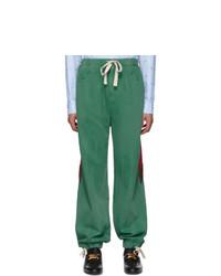 Gucci Green Denim Web Lounge Pants