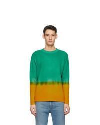 The Elder Statesman Green And Yellow Cashmere Dip Rib Simple Crew Sweater