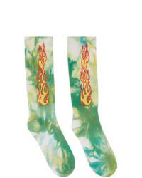 Palm Angels Green Tie Dye Flames Socks