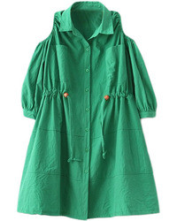 Romwe Off Shoulder Drawstring Green Trench Coat
