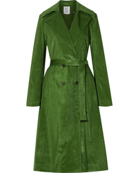 Rosie Assoulin Piano Pleats Cotton Blend Corduroy Trench Coat