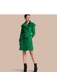 Burberry Ruffle Detail Macram Lace Trench Coat