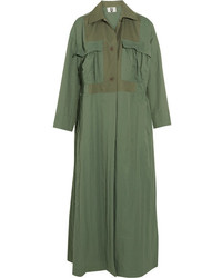 Topshop unique redford oversized cotton canvas paneled twill trench coat army green medium 3638271