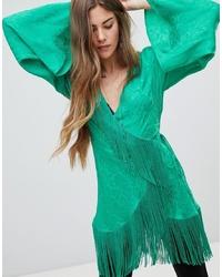 ASOS DESIGN Jacquard Wrap Long Sleeve Top With Fringe