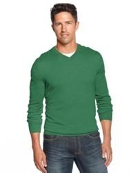 Men S Navy Blazer Green V Neck Sweater White And Blue