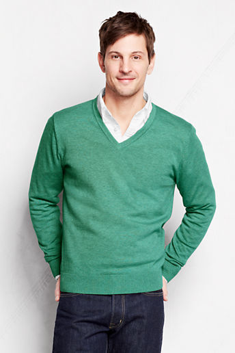 Lands' End Supima Cotton V Neck Sweater | Where to buy & how to wear