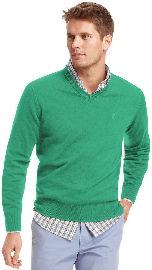 зелёный мужской свитер с чем носить счет того