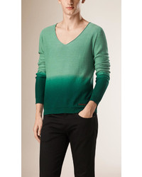 Burberry V Neck Dgrad Linen Cotton Sweater