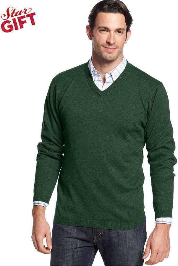 V Neck Green Sweater