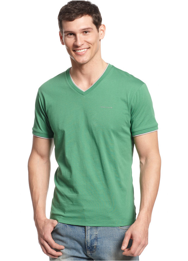 80f8a453f3e ... Armani Jeans Double Layer V Neck T Shirt ...