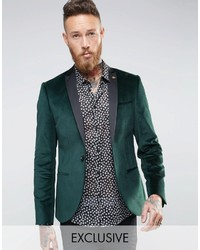 Noose Monkey Super Skinny Blazer In Velvet With Contrast Collar