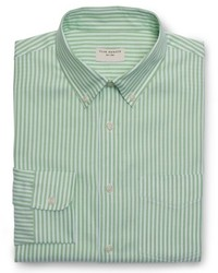 Green Vertical Striped Dress Shirt