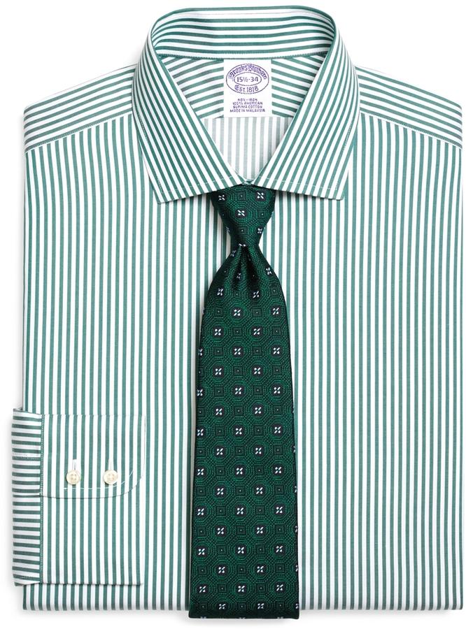 Green vertical striped dress shirt brooks brothers non for Vertical striped dress shirt