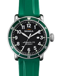 Shinola 48mm Runwell Sport Watch With Rubber Strap Green