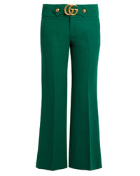 Gucci Gg Wool And Silk Blend Cady Kick Flare Trousers