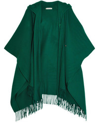 Balenciaga Hooded Wool And Cashmere Blend Poncho Green
