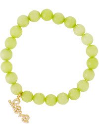 Tai Agate Beaded Stretch Bracelet W Pave Love Charm Apple