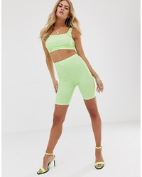 ASOS DESIGN Co Ord Legging Shorts In Neon