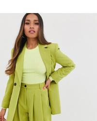 Asos Petite Asos Design Petite Strong Shoulder Suit Blazer In Citrus Pop