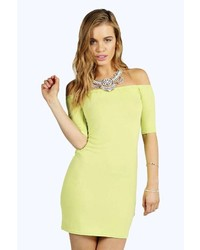 Boohoo Petite Agnes Off The Shoulder Bodycon Dress