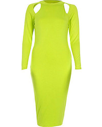 River Island Lime Cut Out Long Sleeve Bodycon Dress