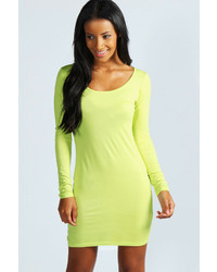 Boohoo Lucie Long Sleeve Scoop Neck Bodycon Dress