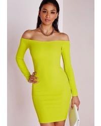Missguided Long Sleeve Bardot Bodycon Dress Lime
