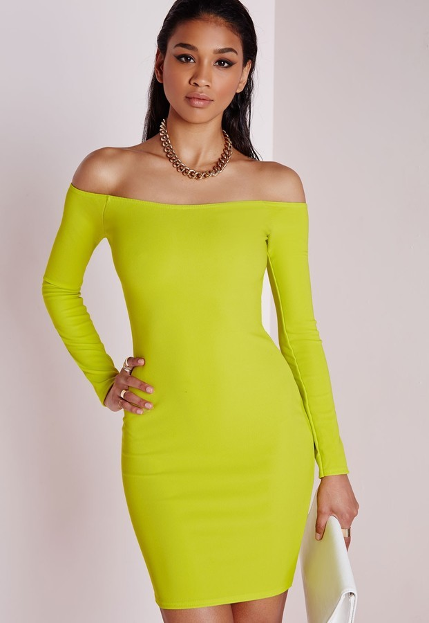 Bardot lime maxi dress