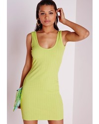 Missguided Scoop Back Bodycon Dress Lime