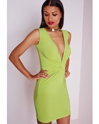 Missguided Slinky Knot Front Plunge Dress Lime Green