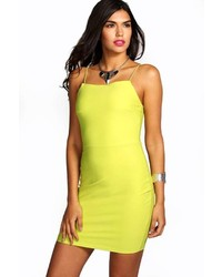 Boohoo Penny Crepe Strappy Square Neck Bodycon Dress