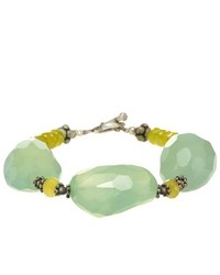 AsiaEXP Handmade Faceted Green Jade Chalcedony Antiqued Silver Bead Bracelet