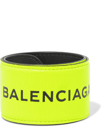 Balenciaga Cycle Textured Leather Bracelet Yellow