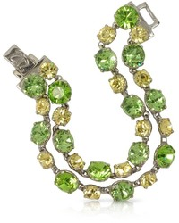 Forzieri Green And Pale Yellow Crystal Bracelet