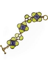 Oscar de la Renta Mosaico Gold Tone Cabochon Bracelet