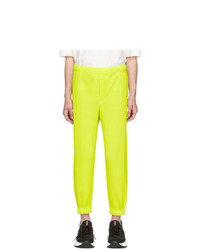 Homme Plissé Issey Miyake Yellow Tapered Pleat Trousers