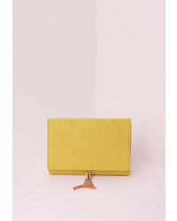 Missguided Green Mini Tassel Clutch Bag