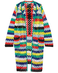 Mira Mikati Hooded Crocheted Merino Wool Cardigan Yellow