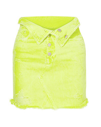 Amiri Fold Over Distressed Denim Mini Skirt