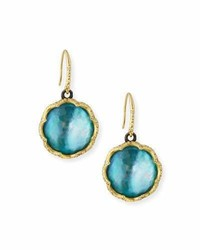 Armenta Old World 18k Scalloped Peruvian Opal Triplet Drop Earrings W Diamonds