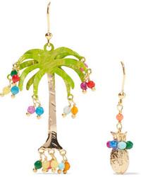 Rosantica Honululu Gold Tone Quartz Earrings Green