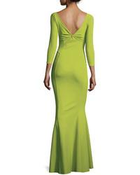Chiara Boni La Petite Robe Custom Collection Saturnnia 34 Sleeve Twist Front Long Gown