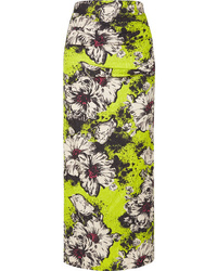 Miu Miu Ruched Floral Print Cloqu Midi Skirt
