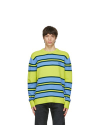 Acne Studios Green And Blue Wool Striped Sweater