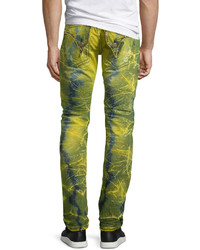 Robin's Jeans Long Flap Slim Acid Wash Jeans Lime
