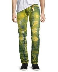 Robin's Jeans Long Flap Slim Acid Wash Jeans Lime