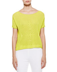 Green-Yellow Lace Short Sleeve Blouse