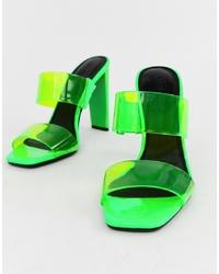 ASOS DESIGN Hayward Clear Block Heeled Mule In Neon Green