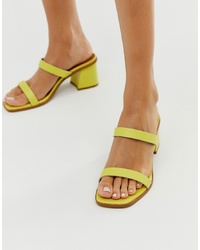 ASOS DESIGN High Class Leather Block Heeled Mid Mules In Yellow