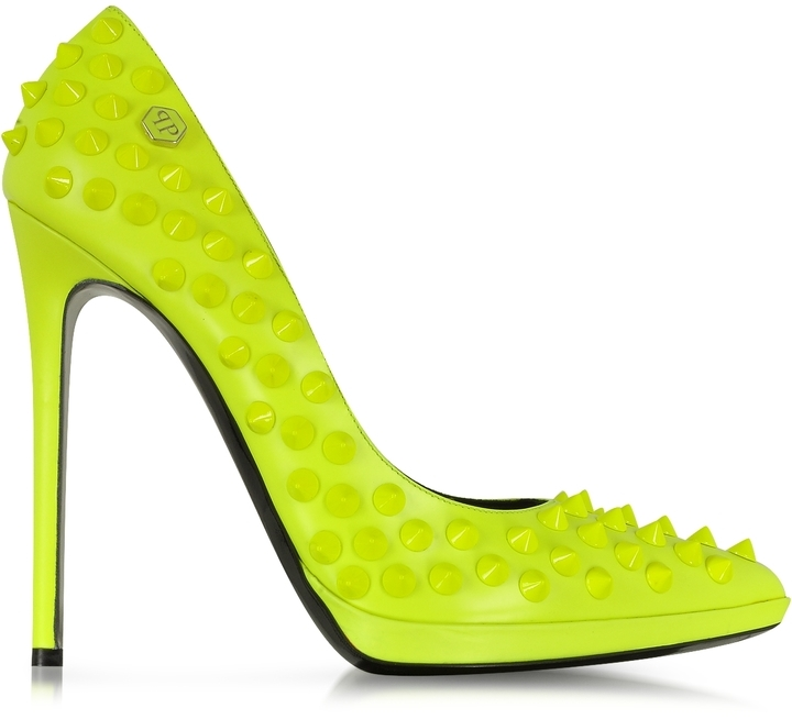 Philipp Plein Neon Yellow High Heels Pop Studded Pump | Where to ...
